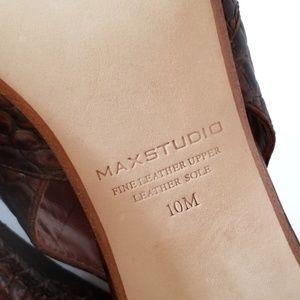 Max Studio Shoes - Max Studio Brown Slingback Croc Leather Heels NIB